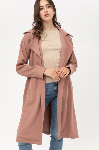 Mauve Belted Trench Lightweight Crepe Coat - La Mère Clothing + Goods