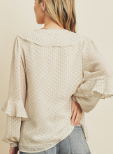 Load image into Gallery viewer, Swiss Dot Ruffle Blouse - La Mère Clothing + Goods
