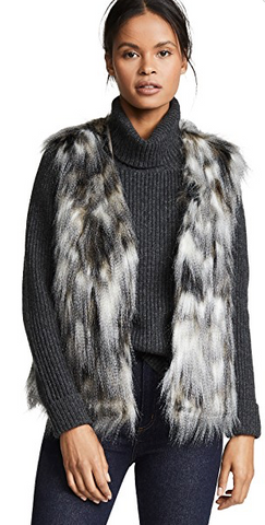 Faux fur vest black and white