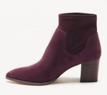 Burgundy Pull On Bootie Boots In Vegan Suede With Almond Toe