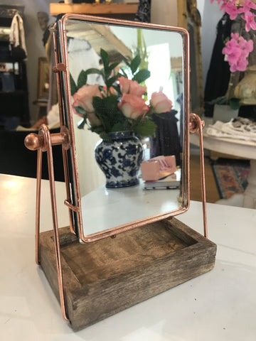 Table Mirror with Mango Wood Tray
