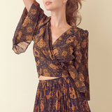Print Front Tie Wrap Blouse - La Mère Clothing + Goods