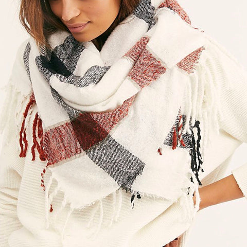 Valley Plaid Fringe Scarf