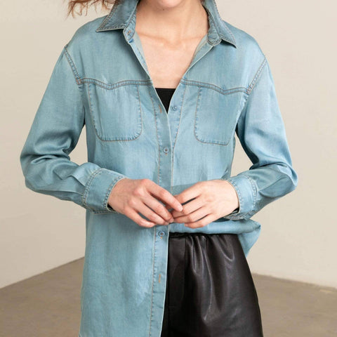 Denim Shirt With Western Details - La Mère Clothing + Goods