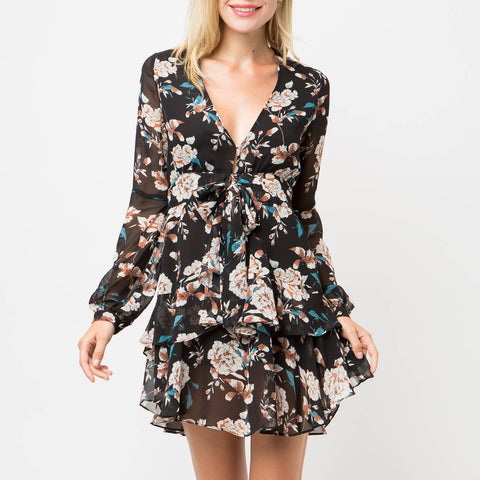 Floral Mini Dress With Tie Front - La Mère Clothing + Goods