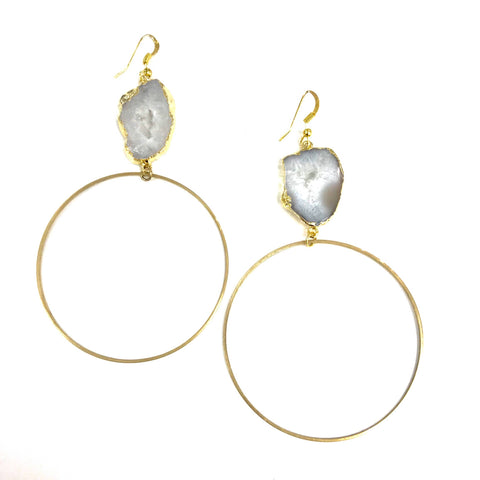 Ola Clear Druzy Hoops - La Mère Clothing + Goods