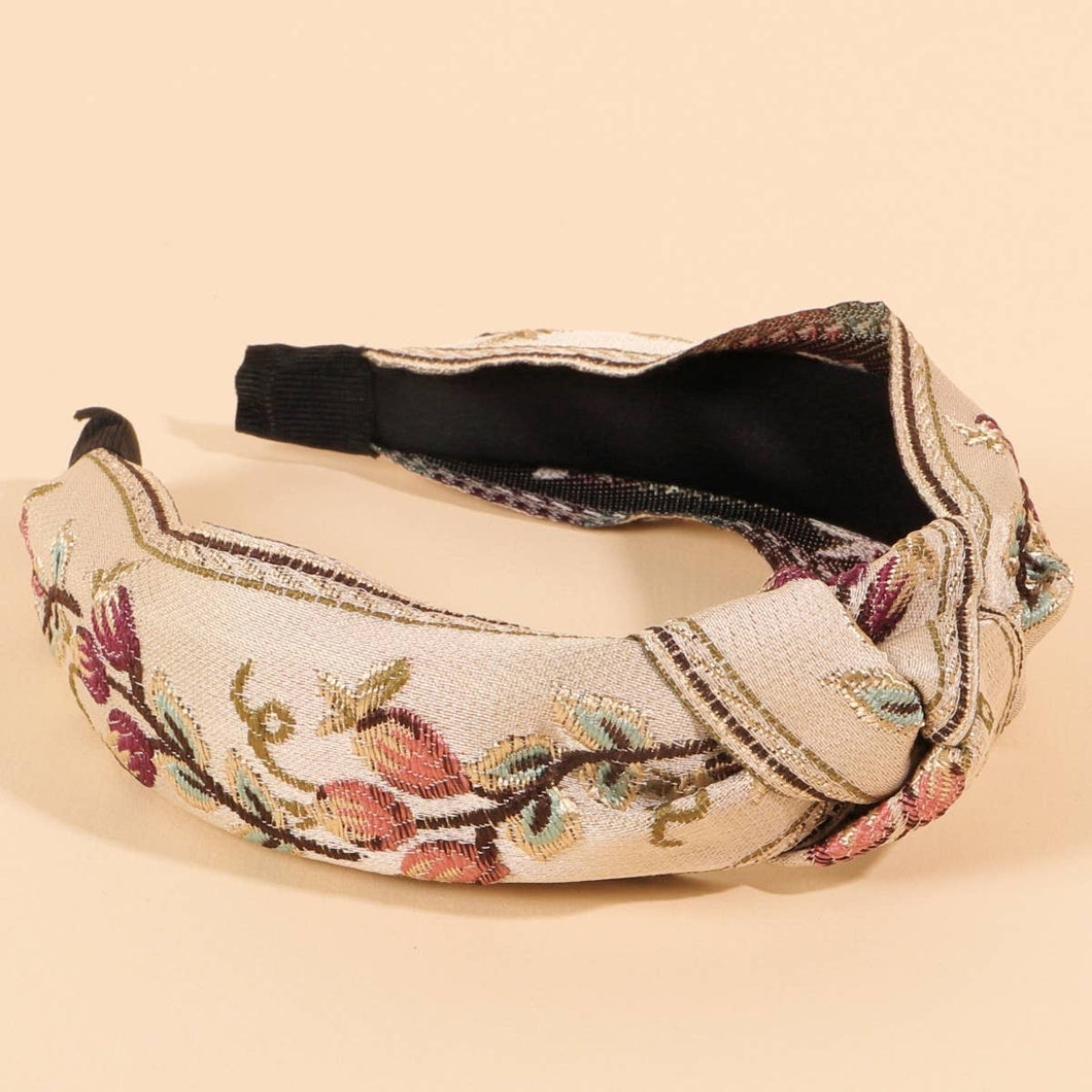 Floral Embroidery Headband - La Mère Clothing + Goods