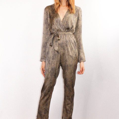 Satin Leopard Jumpsuit