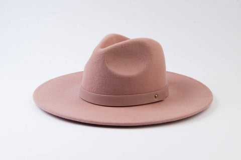 Mauve Wool Fedora with Trim