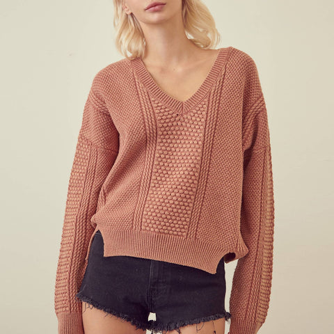 Drop Shoulder Side Slit Knit - La Mère Clothing + Goods