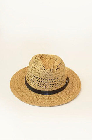 Straw Fedora With Brown Trim