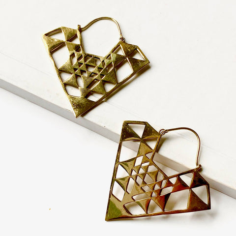 Jia Brass Earrings - La Mère Clothing + Goods