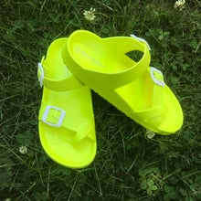 Load image into Gallery viewer, Neon Yellow Slides - La Mère Clothing + Goods
