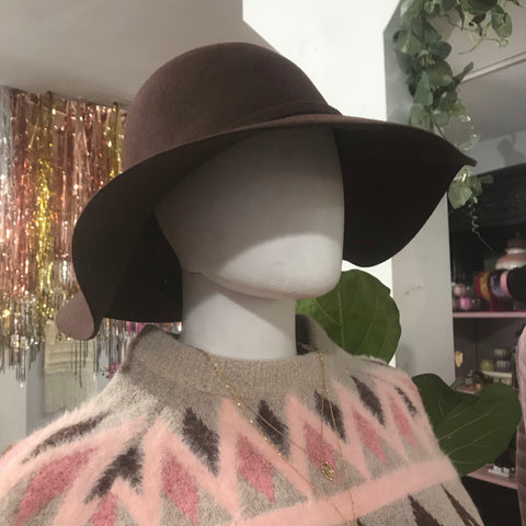Brown Felt Floppy Hat - La Mère Clothing + Goods