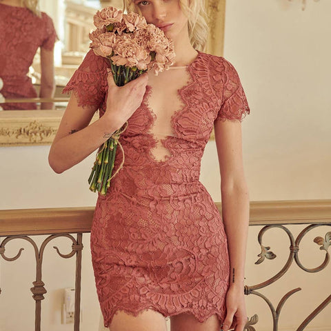 Lace Peekaboo Mini Dress