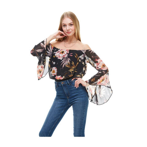 Long Sleeve Scoop Neck Floral Bodysuit - La Mère Clothing + Goods