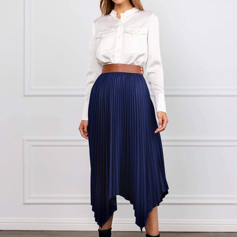 Navy Hankerchief Pleated Skirt - La Mère Clothing + Goods