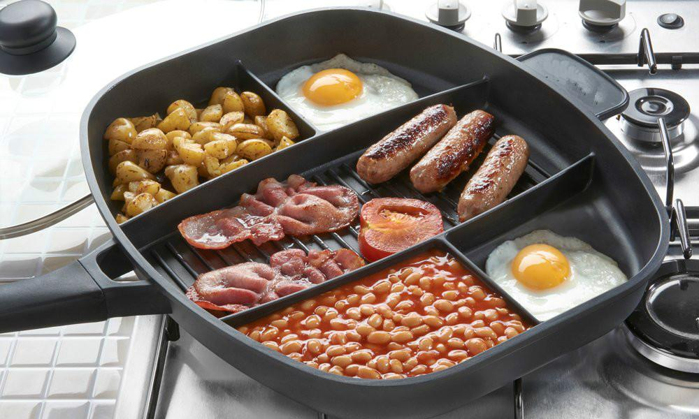 5 in 1 Multi Section Grill/Breakfast Skillet Non-Stick Frying Pan - shopmeko