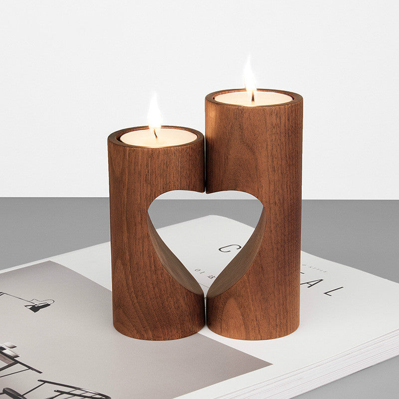 Heart-Shaped Wooden Candle Holders