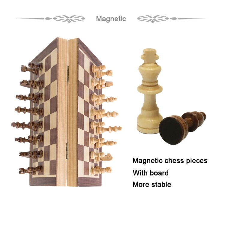 Magnetic Foldable Wooden Chess Set