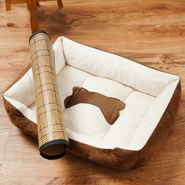 Luxury Memory Foam Dog Bed with Cooling Mat