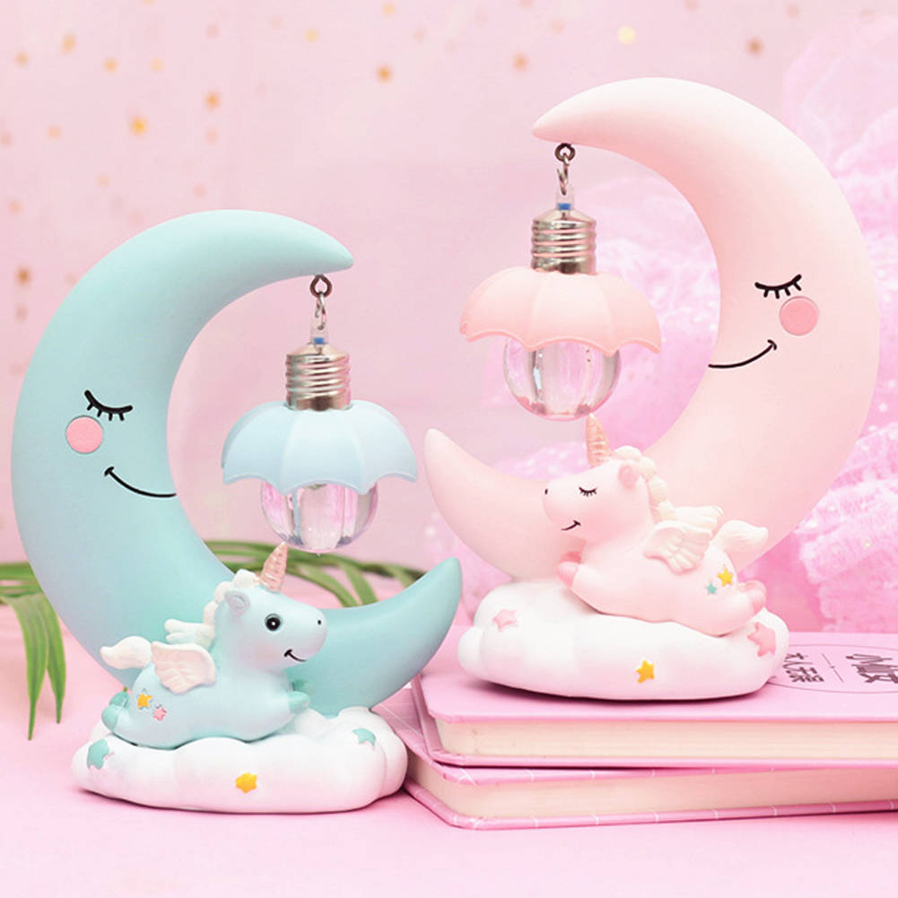 LED Night Light Unicorn Moon Resin Cartoon Lamp