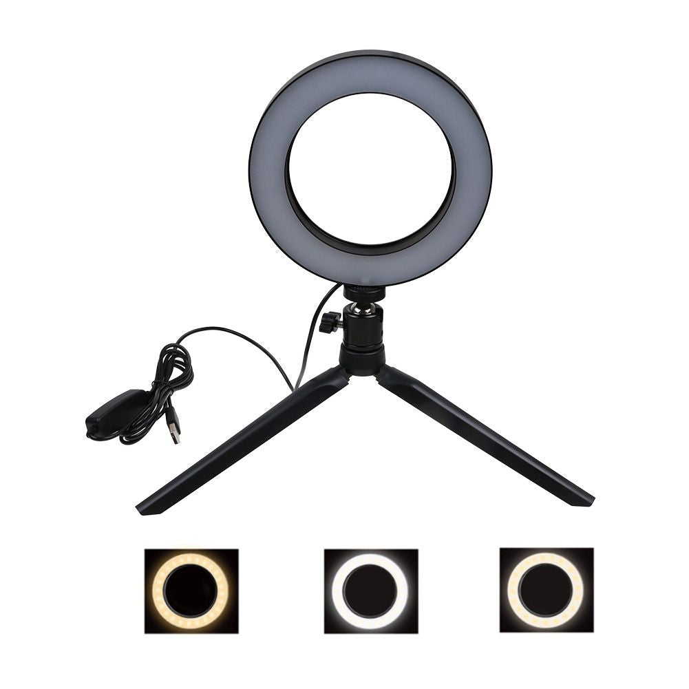 "6"" LED Ring Light with Stand 5500K Dimmable Lighting for Makeup Phone Camera"