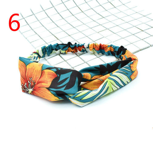 Headbands Vintage Elastic Printed Hair Band Yoga Sport Headband