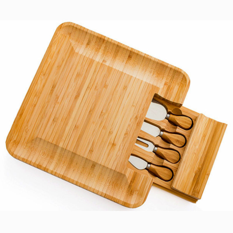 Wooden Cheese Board With Slide Out Drawer Set of 4 Cheese Knives