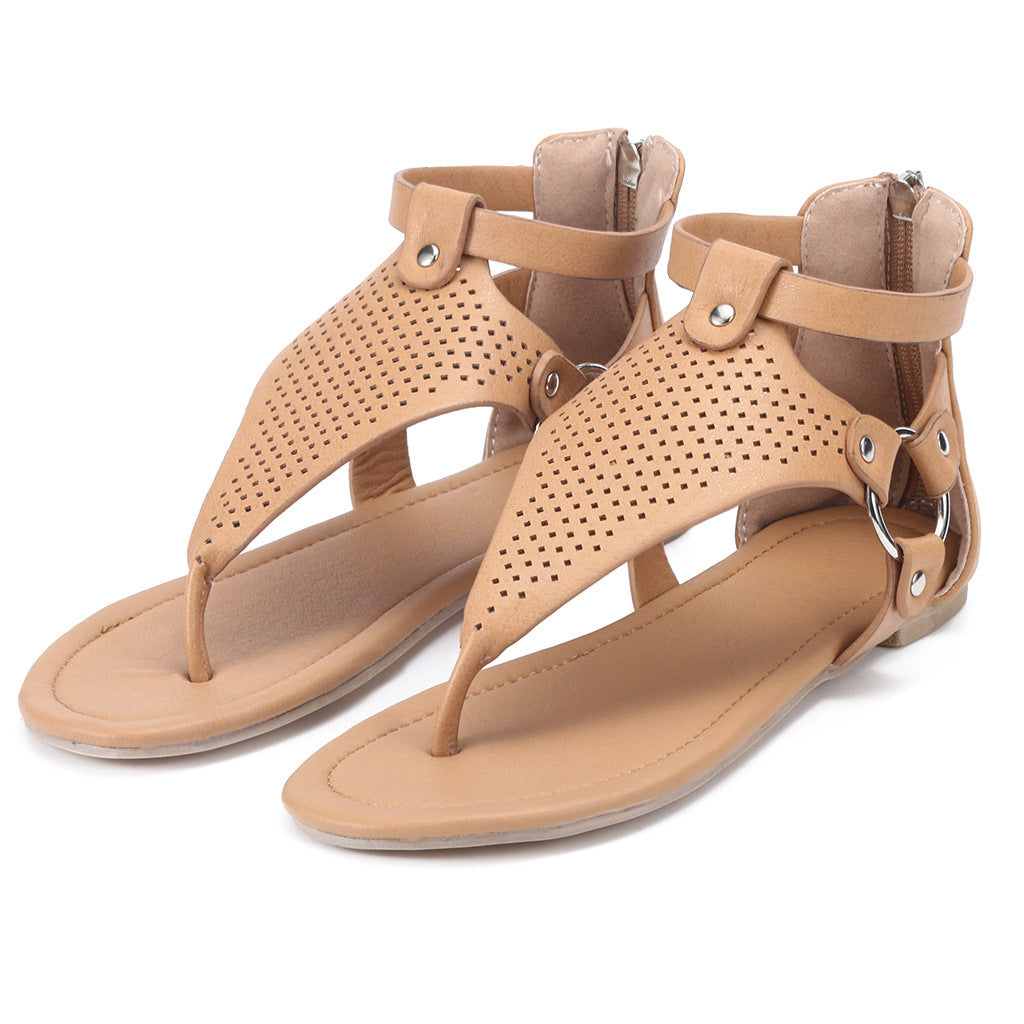 Roman Toe Strap Ladies Sandals Back Zipper Shoes