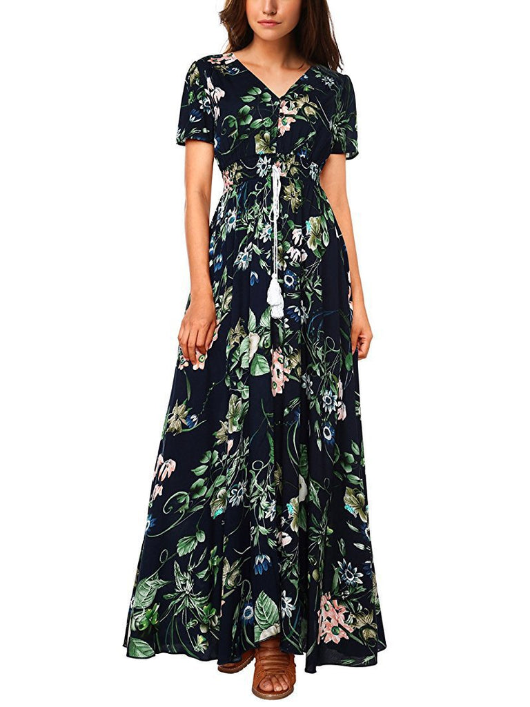 Women Summer Split Floral Cotton Tassels Flowy Party Maxi Long Dress