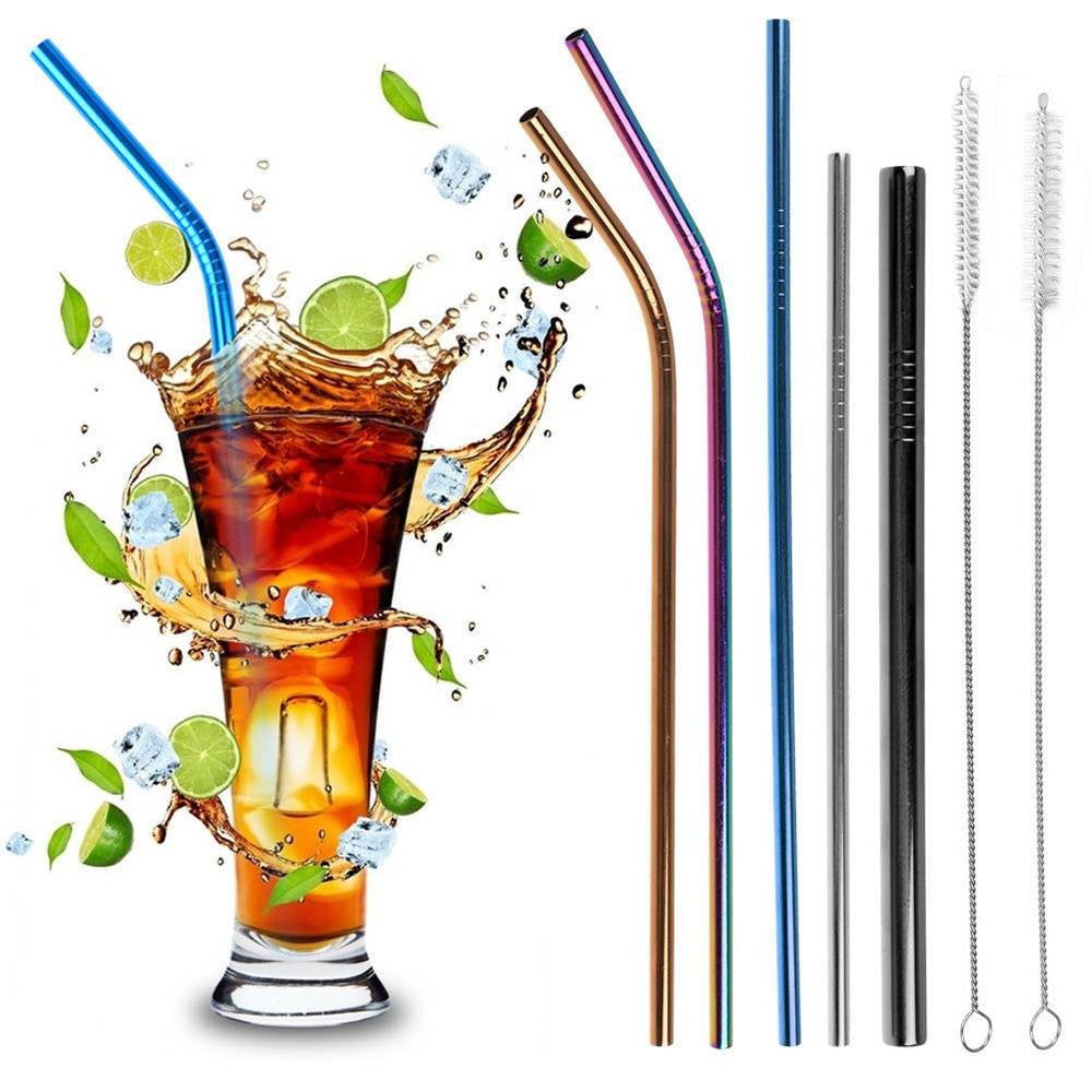 Stainless Steel Drinking Metal Straw Reusable Bar Straws Cleaner Brush Kit