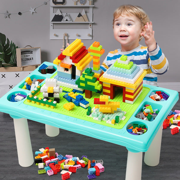 Kids Building Block Puzzle Table Assembly Learning Toy Game Dining Table