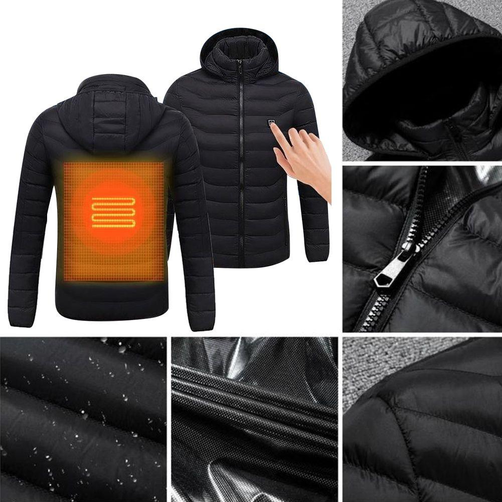 Mens Fashion Digital Heating Hooded Work Jacket  Motorcycle Riding Skiing Snow