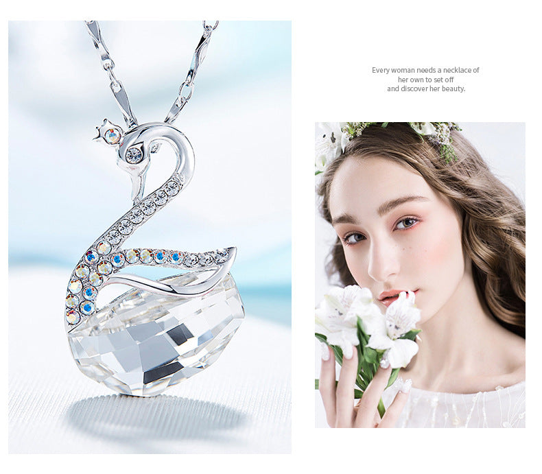 Women's 925 Sterling Silver Swan Pendant Necklace  Crystals From Swarovski®