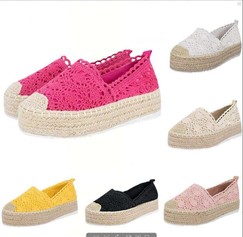 Women's Fashion Platform Lace Straw Shoes