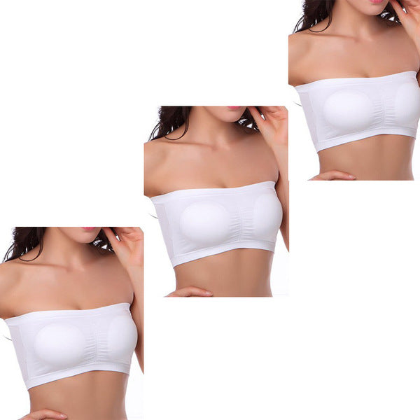 3 Pack Women Seamless Bandeau Bra Tube Top
