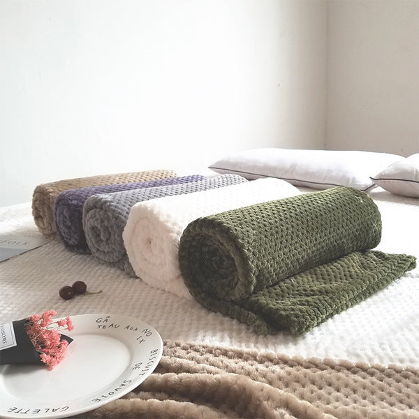 Soft Flannel Fleece Throw Blanket Mat for Sofa Bed