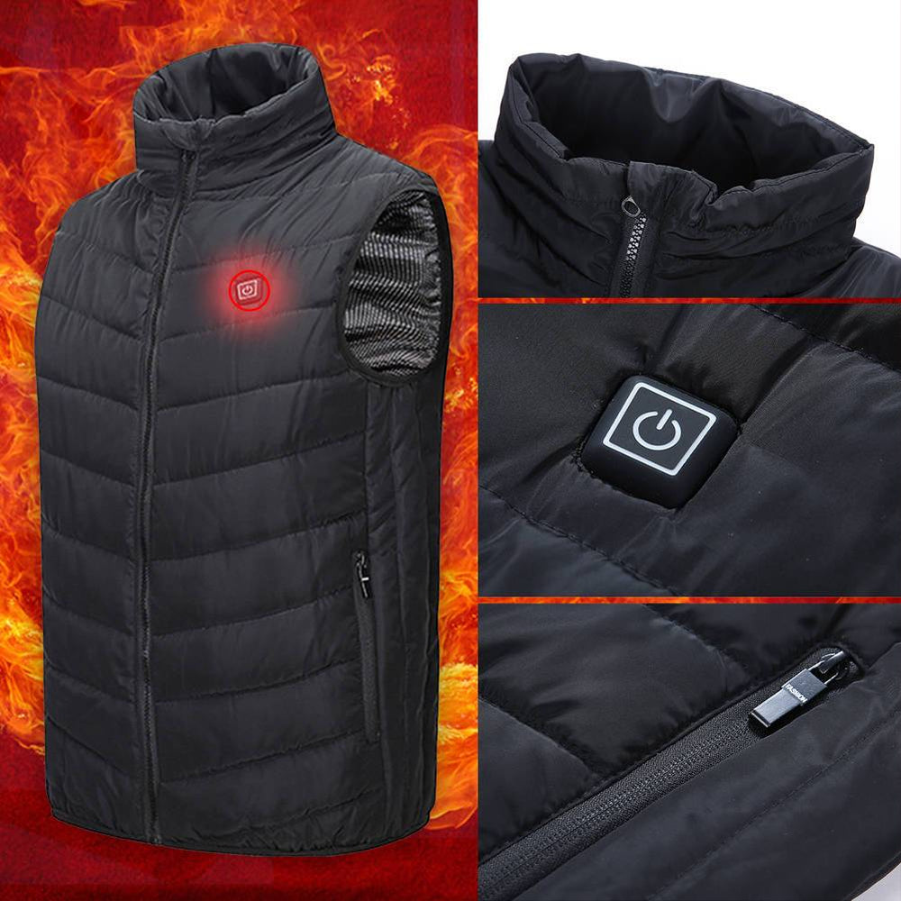 USB Men Electric Heating Vest Jacket Winter Warm Heated Pad Body Warmer