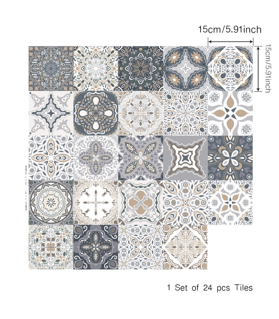 24 Pcs Waterproof Self-Adhesive Wall Floor Tiles Sticker for Home Decor