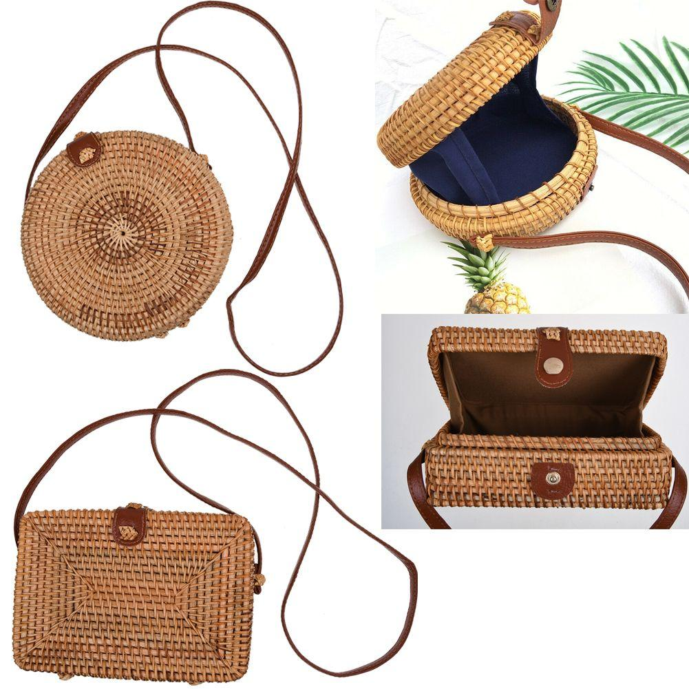 Women Bali Straw Bags Rattan Bag Handmade Woven Beach CrossBody Bag