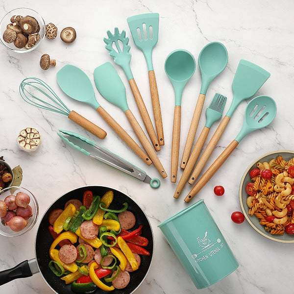 11 Pcs Silicone Cooking Utensil Set with Holder