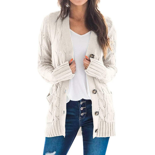 Women Cable Knit Cardigan Long Sleeve Sweater Coat