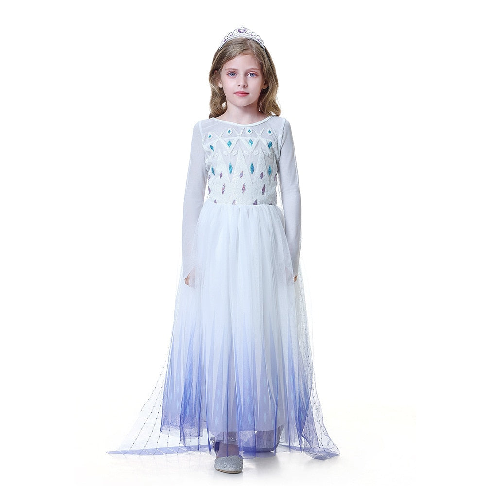 Girls Princess Dress Cosplay Costume with Wig Crown Wand