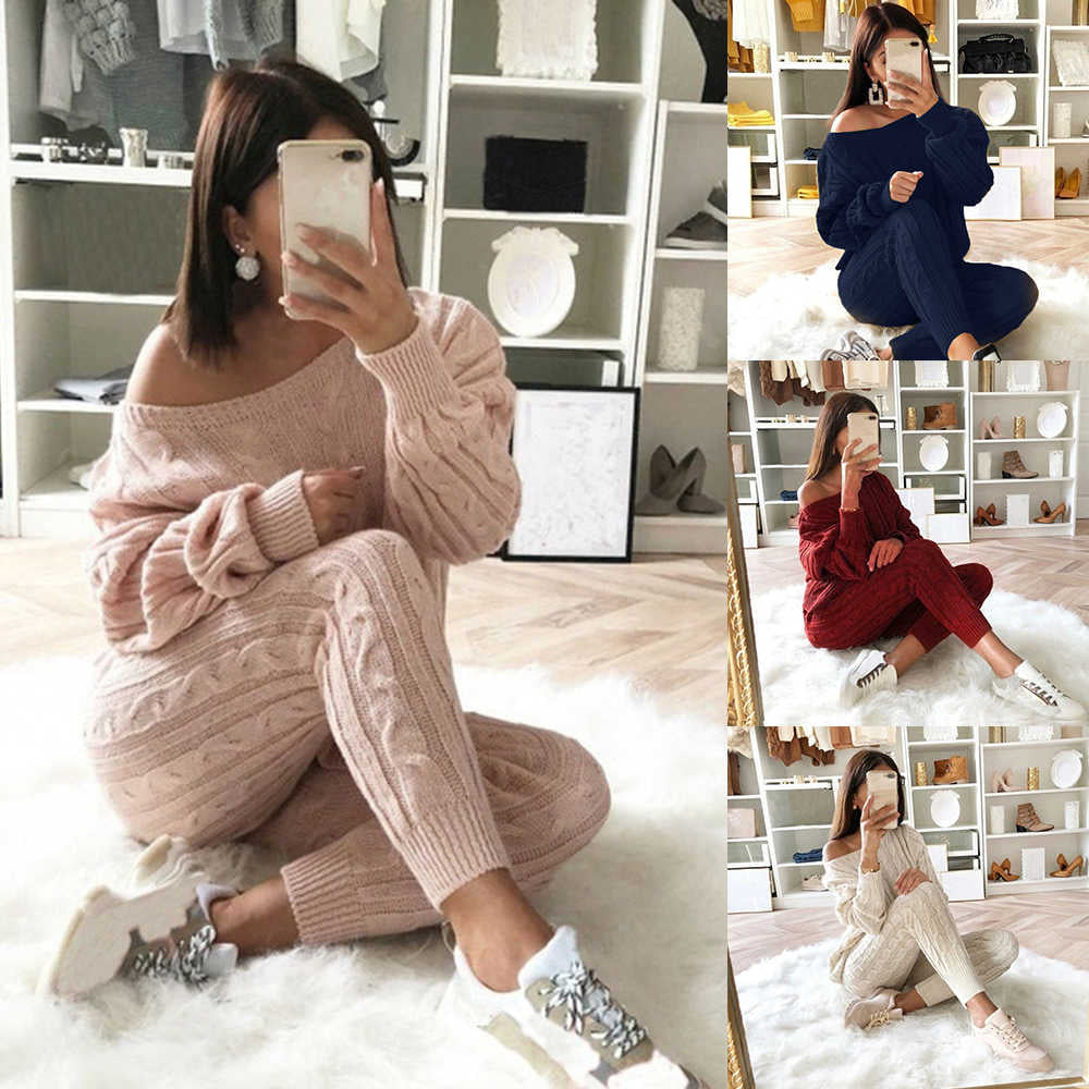 Women Tracksuit Knit Sweater Pullovers Pants Set