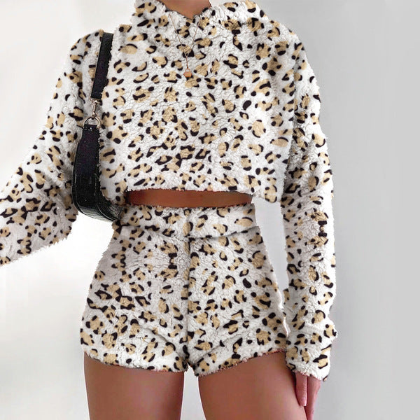 Women Plush Flannel Two Piece Suit Long Sleeve Hooded Top High Waist Shorts
