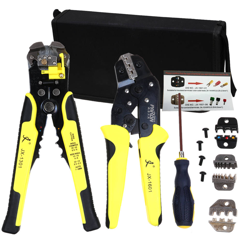 Wire Crimpers Ratcheting Terminal Crimping Pliers Cord End Terminals Tool 5 Kit