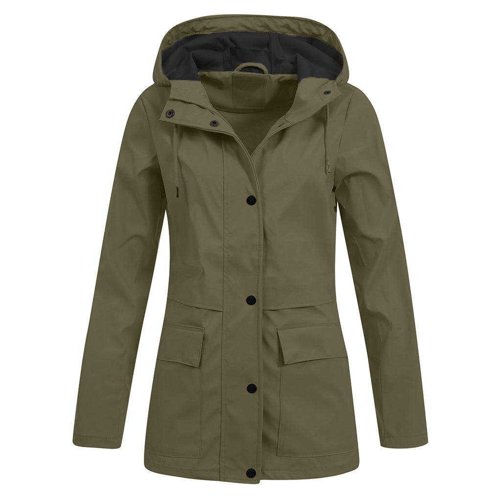 Women Hooded Short Raincoat Jacket Windproof