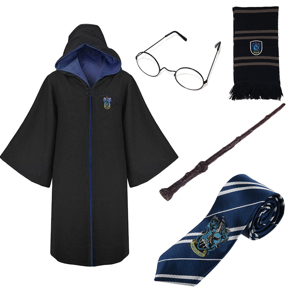 Harry Potter Wizard Fancy Dress Costume Cape, Tie, Scarf, Glasses, Wand Party Set