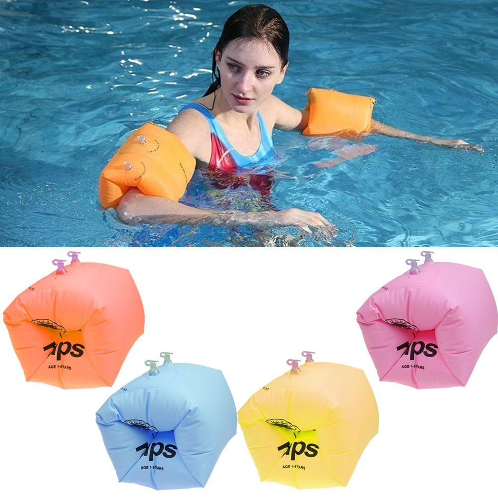Inflatable Swim Roll up Arm Bands Rings Floats Tube Armlets for Kids Adult